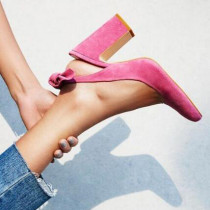 Arden Furtado summer 2019 fashion trend women's shoes pointed toe pink office lady chunky heels pure color classics pumps big size 45 party shoes