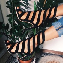 Arden Furtado summer 2019 fashion women's shoes sexy elegant mature black peep toe stilettos heels big size 45 sandals