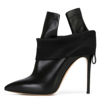 Arden Furtado spring and autumn 2019 fashion women's shoes pointed toe stilettos heels classics pure color big size 45 black short ankle boots slip-on sexy elegant fashion shoes