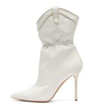 Arden Furtado spring and autumn fashion women's shoes pointed toe half boots stilettos heels elegant ladies white boots