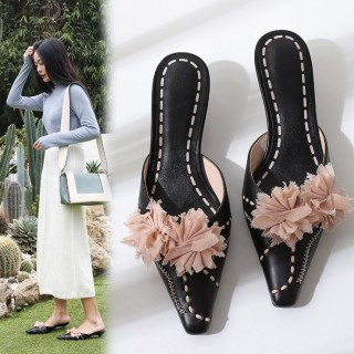 Arden Furtado summer 2019 fashion trend women's shoes pointed toe stilettos heels party shoes flower sexy elegant slippers pure color