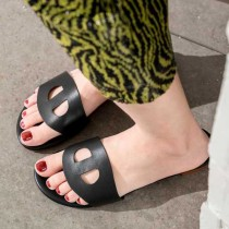 Arden Furtado summer 2019 fashion trend women's shoes concise pure color slippers brown leather ladylike temperament
