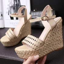 Arden Furtado summer 2019 fashion trend Europe and America women's shoes elegant  apricot  concise mature sandals wedges pure color buckle sandals