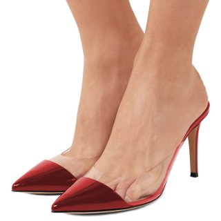 Arden Furtado summer 2019 fashion trend women's shoes pointed toe stilettos heels transparent PVC slippers mules  big size 45