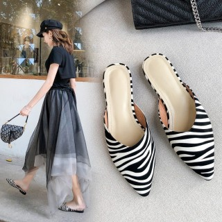 Arden Furtado summer 2019 fashion trend women's shoes pointed toe concise slippers mixed colors mules ladylike temperament