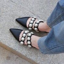 Arden Furtado summer 2019 fashion trend women's shoes pointed toe  sexy elegant pearl slippers classics mules concise