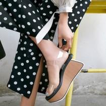 Arden Furtado summer 2019 fashion trend women's shoes  sexy elegant sandals wedges buckle transparent PVC party shoes