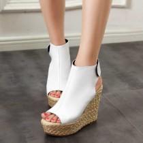 Arden Furtado summer 2019 fashion trend women's shoes pure color white sandals wedges party shoes comfortable leather