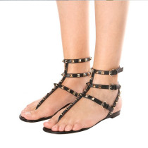 Arden Furtado summer 2019 fashion women's shoes rivets gladiator flat sandals large size shoes
