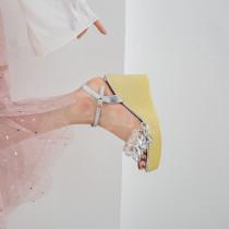 Arden Furtado summer 2019 fashion women's shoes sheep velvet crystal waterproof platform wedges sandals
