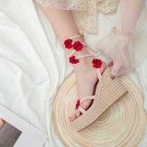 Arden Furtado summer 2019 fashion women's shoes open toe slope and flower strap waterproof table sandals