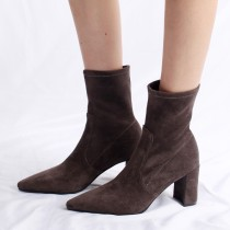 Arden Furtado fashion women's shoes in winter 2019 pointed toe chunky heels elegant milk tea brown office lady short boots ladies boots concise mature office lady