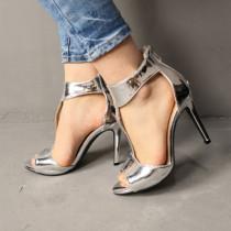 Arden Furtado summer 2019 fashion trend women's shoes stilettos heels sexy elegant pure color silver party shoes  elegant sandals zipper