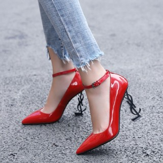 Arden Furtado summer 2019 fashion trend women's shoes pointed toe stilettos heels office lady red pure color small size 33 buckle  sexy elegant special-shaped heels