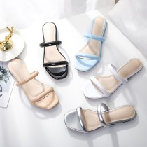 Arden Furtado summer 2019 fashion trend women's shoes white apricot silver blue sexy elegant ladylike temperament concise mature pure color small size 33 big size 43 slippers
