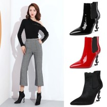 Arden Furtado fashion women's shoes in winter 2019 pointed toe special-shaped heels concise pure color  small size 33 big size 43 ladies boots concise mature office lady