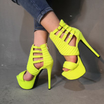 Arden Furtado summer 2019 fashion trend women's shoes stilettos heels pure color fluorescent color buckle sandals narrow band office lady big size 47 party shoes  waterproof