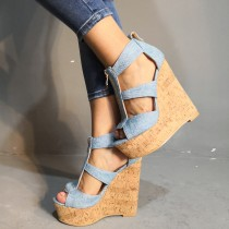 Arden Furtado summer 2019 fashion trend women's shoes sexy wedges elegant concise mature pure color blue big size 47 denim zipper sandals