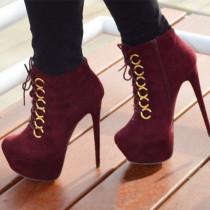 Arden Furtado fashion women's shoes in winter 2019 wine red cross lacing classics office lady stilettos heels waterproof women's boots short boots big size 47