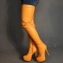 Arden Furtado spring and autumn 2019 fashion women's shoes pointed toe orange stilettos heels zipper big size 47  elegant sexy elegant