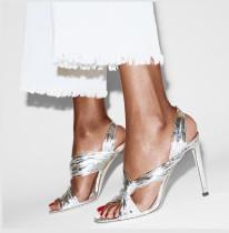 Silver stilettos peep toe sexy high heels women's shoes Sandals size 40
