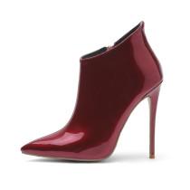 Arden Furtado fashion women's shoes in winter 2019 pointed toe stilettos heels zipper pure color short boots big size 45