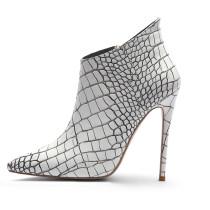 Arden Furtado fashion women's shoes leather pointed toe white stilettos heels zipper ankle boots big size 45