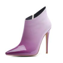 Arden Furtado fashion women's shoes in winter 2019 pointed toe stilettos heels zipper elegant purple short boots big size 45