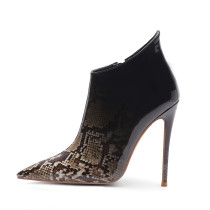 Arden Furtado fashion women's shoes in winter 2019 pointed toe stilettos heels zipper snake pattern sexy elegant short boots