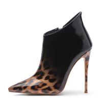 Arden Furtado fashion women's shoes in winter 2019 pointed toe stilettos heels zipper short boots leopard print big size 45