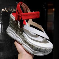 Summer wedges sandals platform casual genuine leather shoes for student flip flops