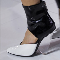 Summer fashion pvc boots ladies cone heels big size ankle boots sexy high heels ladies booties strange style sandals