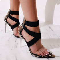 Summer fashion Stilettos heels snakeskin sandals Elegant party shoes Big size 42 pvc heels
