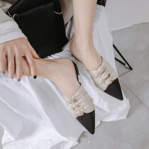 Summer 2019 fashion women's shoes pointed toe elegant slippers mules gray comfortable slippers
