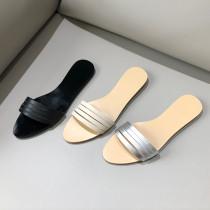 Arden Furtado summer 2019 fashion women's shoes flat open toe slippers narrow band open toe silver casual white slides
