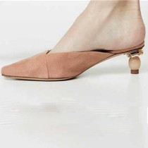 Arden Furtado summer 2019 fashion women's shoes pointed toe strange style heels concise blue mules