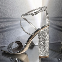 Arden Furtado summer fashion women's shoes online celebrity sexy gold green elegant party shoes silver glitter sandals chunky heels