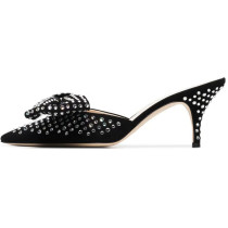 summer 2019 fashion trend women's shoes pointed toe crystal rhinestone black sexy stilettos heels slippers mules
