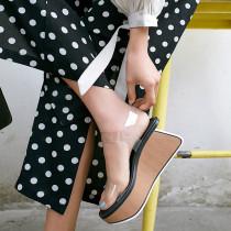 Arden Furtado summer 2019 fashion women's shoes sexy PVC elegant wedge sandals buckle strap narrow band
