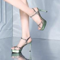 Arden Furtado summer fashion women's shoes buckle strap party shoes silver stilettos heels platform pvc sandals green