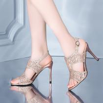 Arden Furtado summer 2019 fashion trend women's shoes stilettos heels buckle sandals crystal rhinestone concise office lady