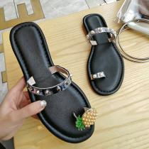 Arden Furtado summer 2019 fashion trend women's shoes pure color khaki cowhide flats slippers concise ladylike temperament