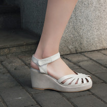 Arden Furtado summer 2019 fashion women's shoes pure color white red pinkish classics sandals wedges narrow band big size 44