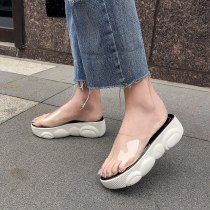 Arden Furtado summer 2019 fashion trend women's shoes concise PVC transparent slippers casual shoes small size 29 big size 46