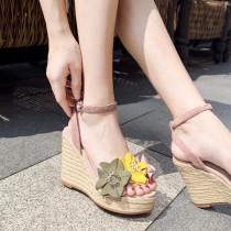 Arden Furtado summer 2019 fashion trend women's shoes elegant  flower sweet sandals buckle wedges waterproof