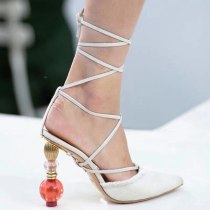 Arden Furtado summer 2019 fashion women's shoes special-shaped heels pointed toe while the shoes elegant pure color ankle strap