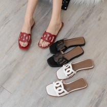 Arden Furtado summer 2019 fashion trend women's shoes pure color leather flats hollow out leather  slippers concise classics