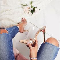 Arden Furtado summer 2019 fashion women's shoes PVC pure color transparent slippers novelty concise stilettos heels big size 40