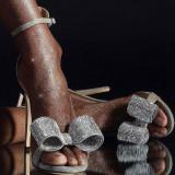 Arden Furtado summer fashion women's shoes stilettos heels silver sandals party shoes buckle strap cover heels