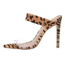 Arden Furtado Summer Fashion Women's Shoes Narrow Band Sexy Personality Stilettos Heels Concise Leopard Print  Pvc Slippers
